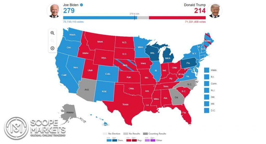 Bản đồ bầu cử tổng thống Hoa Kỳ 2020